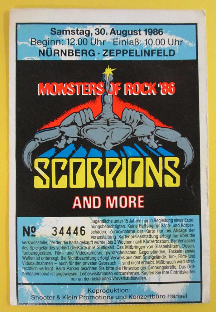 Nostalgipalatset Monster Of Rock N 252 Rnberg 1986