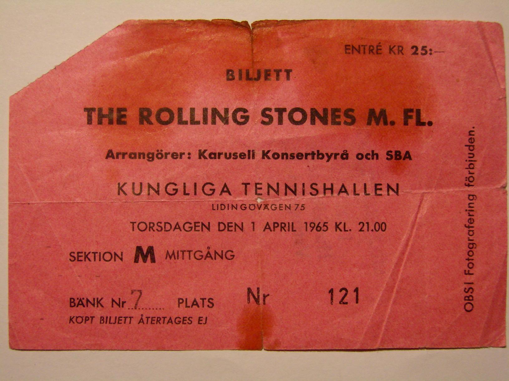 Nostalgipalatset Rolling Stones Concert Ticket Kungl
