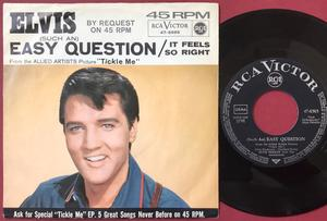 "ELVIS PRESLEY - Easy question 7"" Ger PS 1965"