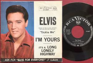 "ELVIS PRESLEY - Long lonely highway 7"" Ger PS 1965"