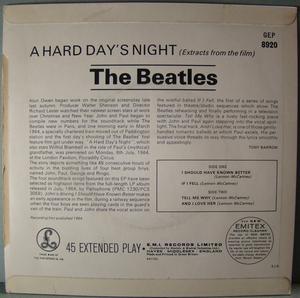 BEATLES - A hard day´s night + 3 EP UK 1964