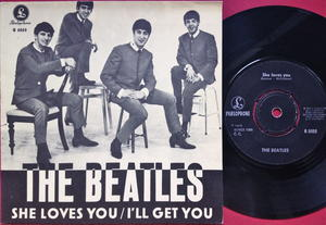 """BEATLES - She loves you 7"""" English credits Rare BEIGE Swe PS 1963 M(-)!"""