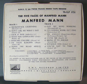 MANFRED MANN The five faces - REEL-TO-REEL TAPE 60´s