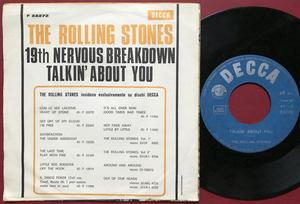 ROLLING STONES - 19th nervous breakdown / Talkin´ bout you Italy PS 1966