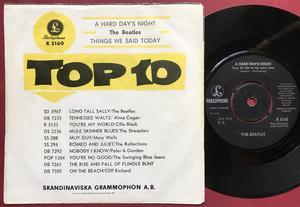 "BEATLES -  A hard day´s night 7"" Rare GUL Swe PS 1964"
