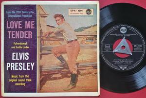 ELVIS PRESLEY - Love me tender +3 Tysk EP Silvertri + linjer 1956