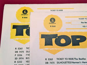 """BEATLES -  Ticket to ride BRIGHT YELLOW 7"""" Swe-65 PS ONLY - Archive copy / MINT-!"""