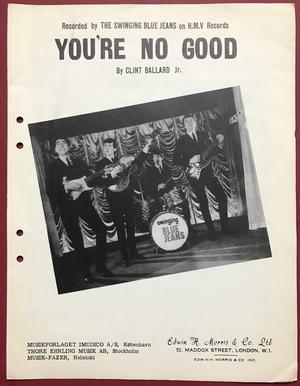 SWINGING BLUE JEANS - You´re no good 1964 Danish Sheet music