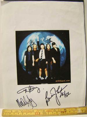AC/DC - Fem autografer på papperskopia 1999