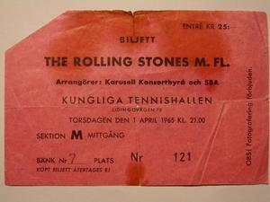ROLLING STONES - Konsertbiljett Kungl. Tennishallen Stockholm 1965 ROSA