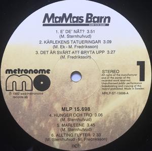 MAMAS BARN - Barn som barn Swe-orig SIGNERAD LP 1982