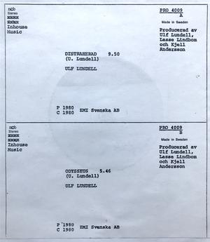 "ULF LUNDELL - Distraherad Swe-orig TESTPRESS 12"" Maxi 1980"