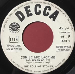 ROLLING STONES - Con le mie lacrime / Talkin´ bout you Italy Jukebox PROMO 45 1966