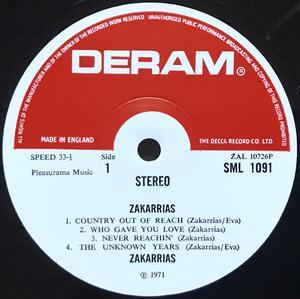 """ZAKARRIAS - """"same"""" UK-orig Deram LP 1971"""