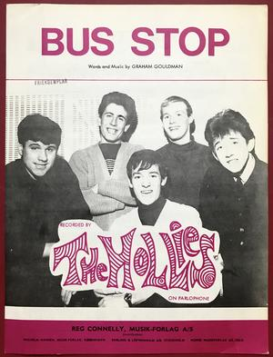 HOLLIES - Bus stop Danskt Nothäfte 1966