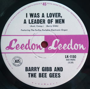 """BARRY GIBB & BEE GEES - I was a lover, leader of men Aus-orig 7"""" 1965"""