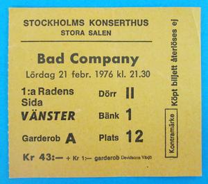 BAD COMPANY - Stockholm 1976