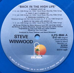 TRAFFIC / STEVIE WINWOOD - Back in the High life ULTRARARE BLÅ Vinyl LP 1986!